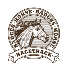 Horse racetrack badges vector