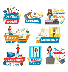 housewife chores and hobbies kitchen utensil vector image