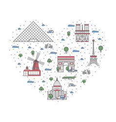 i love paris poster in linear style vector image
