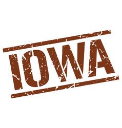 Iowa brown square stamp vector