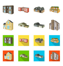 isolated object of facade and housing symbol set vector image