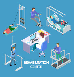 isometric physiotherapist and rehabilitation vector image