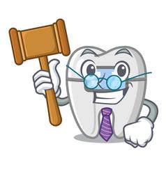 Judge toys braces in mascot box vector