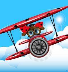 Ladybug on a plane vector