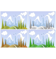 Landscape in four seasons vector image