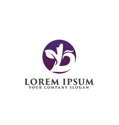 letter b leaf logo design concept template vector image