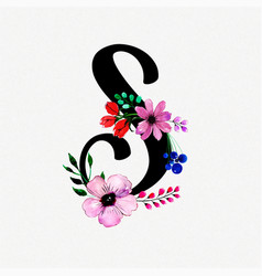Letter s watercolor floral background vector