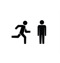 Man stands walk and run icon set people symbol vector