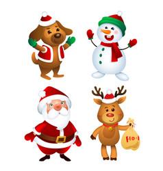 merry christmas santa claus dod snowman vector image