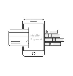 mobile payment with thin line phone vector image