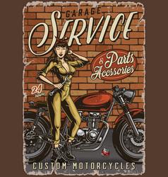 Motorcycle garage repair service vintage poster vector