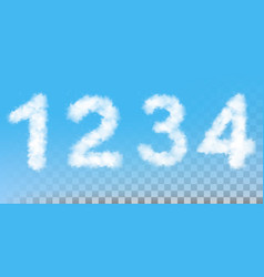 Numbers made out clouds vector