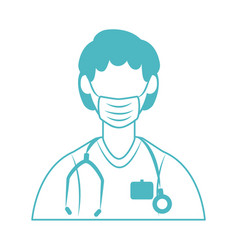 Online doctor male physician medical mask and vector
