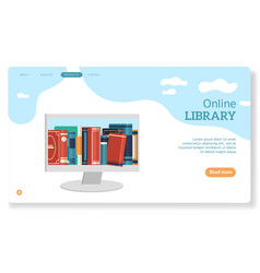 online library landing page for website books vector image