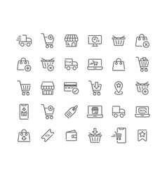 Online shopping outline icon set vector