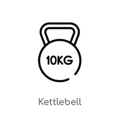 Outline kettlebell icon isolated black simple vector
