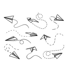paper airplane flying planes from different vector image