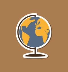 Paper sticker on stylish background globe vector