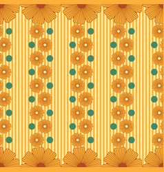 pattern with abstract flowers stripes vector image