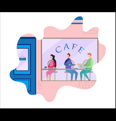 People in cafe lifestyle design cartoon vector