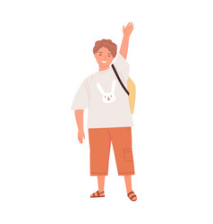 Positive smiling schoolboy waving with hand raised vector