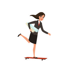 Pretty business woman riding skateboard with vector