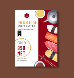 Promotion poster for sushi restaurant simple vector