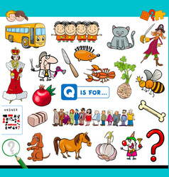 Q is for educational game for children vector