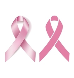 Realistic pink ribbon isolated on white vector image