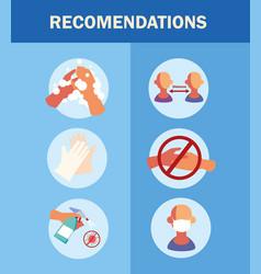 Recommendations for prevent spread covid 19 vector