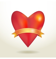 Red glossy shiny three-dimensional heart 3d and vector