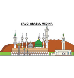 Saudi arabia medina city skyline architecture vector