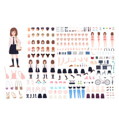 School girl constructor or diy kit set of young vector