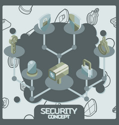 security color concept isometric icons vector image