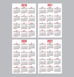 set calendar grid templates for pocket vector image