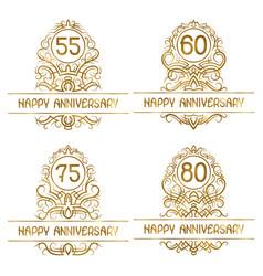 set golden anniversary vintage emblems for vector image