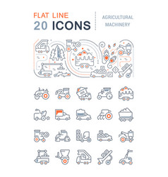set line icons agricultural machinery vector image