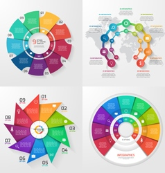 set of 4 infographic templates with 9 options vector image