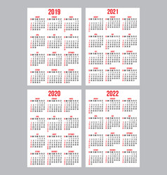 set of calendar grid templates for pocket vector image