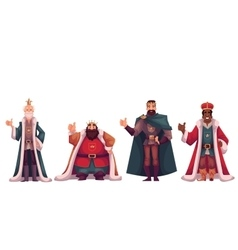 Set of different kings in crowns and mantles vector image