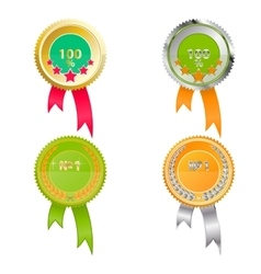 Set of medals of quality Bright green and orange vector