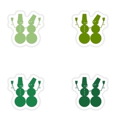 Set of paper stickers on white background snowmen vector