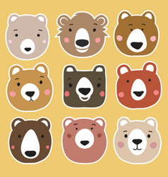 set with bear heads stickers vector image