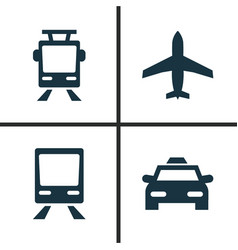 Shipment icons set collection of streetcar vector
