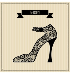 Shoes Vintage lace background floral ornament vector image