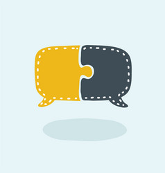 Speech bubble in puzzle pieces icon concept design vector
