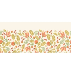 Spring flowers and berries horizontal seamless vector image