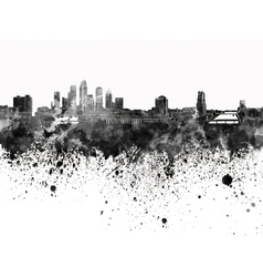 Tampa skyline in black watercolor on white vector image