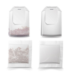 Tea bags with labels square and vector