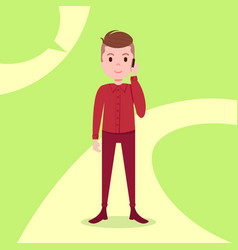 Teen boy character serious phone call male red vector